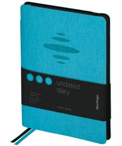 Ежедневник недатир. A5, 136л., кожзам, Berlingo «Color Zone», черн. срез, с резинкой, голубой