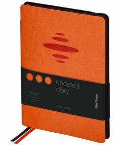 Ежедневник недатир. A5, 136л., кожзам, Berlingo «Color Zone», черн. срез, с резинкой, оранжевый