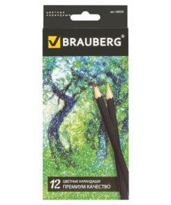Карандаши цветные BRAUBERG «Artist line», 12 цветов, черный корпус, заточенные, высшее качество, 180539