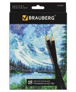 Карандаши цветные BRAUBERG «Artist line», 18 цветов, черный корпус, заточенные, высшее качество, 180554