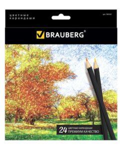 Карандаши цветные BRAUBERG «Artist line», 24 цвета, черный корпус, заточенные, высшее качество, 180565