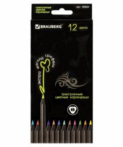 Карандаши цветные BRAUBERG «Black Jack», 12 цв., трехгранные, черное дерево, заточенные, картонная упаковка, 180834