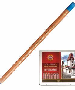 Карандаши цветные пастельные KOH-I-NOOR «Gioconda», 24 цвета, мягкие, металлическая коробка, 8828024001PL