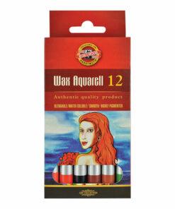 Карандаши цветные пастельные KOH-I-NOOR «Wax aquarell», 12 цветов, акварельные, восковые, картонная коробка, 8282012003KS