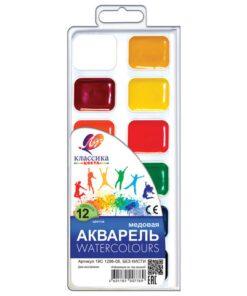 Краски акварельные ЛУЧ «Классика», 12 цветов, медовые, без кисти, пластиковая коробка, 19С1286-08