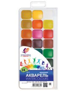 Краски акварельные ЛУЧ «Классика», 24 цвета, медовые, без кисти, пластиковая коробка, 19С1294-08