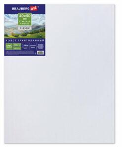 Холст на подрамнике BRAUBERG ART «CLASSIC», 40х50 см, грунтованный, 100% хлопок, крупное зерно, 190646