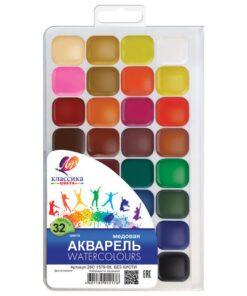 Краски акварельные ЛУЧ «Классика», 32 цвета, медовые, без кисти, пластиковая коробка, 26С1579-08
