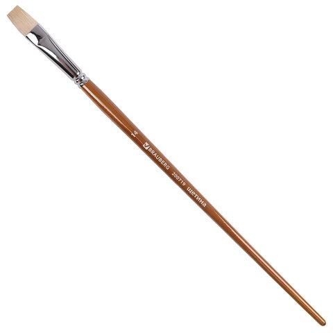 Кисть художественная профессиональная BRAUBERG ART «CLASSIC», щетина, плоская, № 14, длинная ручка, 200719