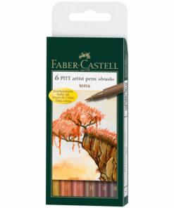 Набор капиллярных ручек Faber-Castell «Pitt Artist Pen Brush Terra» ассорти,6шт.,пласт. уп.,европ.