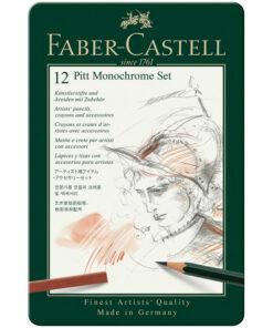 Набор художественных изделий Faber-Castell «Pitt Monochrome», 12 предметов, метал. кор.