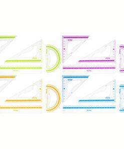 Набор чертежный средний Berlingo «Color» (треуг. 2шт, линейка 20см, транспортир), прозрачный