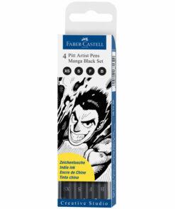 Набор капиллярных ручек Faber-Castell «Pitt Artist Pen Manga Black set» черные, 4шт., 0,1/0,3/0,5мм