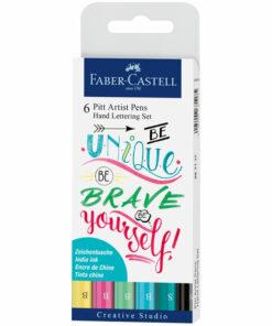 Набор капиллярных ручек Faber-Castell «Pitt Artist Pen Lettering» ассорти, 6шт., 0,3мм/Brush, евр.