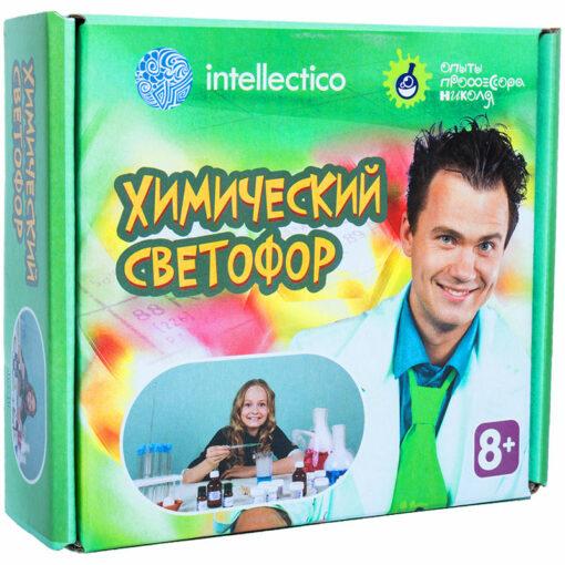 Набор для опытов Intellectico «Опыты профессора Николя. Химический светофор»,малый,картонная коробка