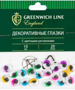 Материал декоративный Greenwich Line «Глазки», с цветными ресничками, 10мм, 20шт.