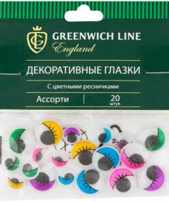 Материал декоративный Greenwich Line «Глазки», с цветными ресничками, ассорти, 20шт.