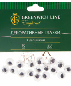 Материал декоративный Greenwich Line «Глазки», с ресничками, 10мм, 20шт.
