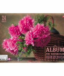 Альбом для акварели 24л., А4, на спирали Hatber «Яркий букет», 180 г/м2 жесткая подложка