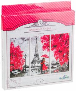 Алмазная мозаика Origami «Алмазные узоры. Триптих. Париж», 3 картинки*10*20см, европодвес