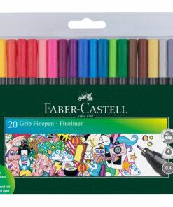 Набор капиллярных ручек Faber-Castell «Grip Finepen» 20цв., 0,4мм, трехгран., пласт. уп., европодвес