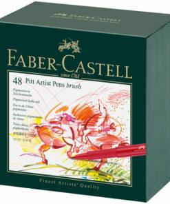 Набор капиллярных ручек Faber-Castell «Pitt Artist Pen Brush» ассорти, 48шт., студийная коробка