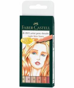 Набор капиллярных ручек Faber-Castell «Pitt Artist Pen Brush Light Skin» 6цв., 6шт., пластик. уп., европодвес
