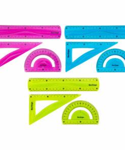 Набор чертежный средний Berlingo «Flexy» (треуг.14см, линейка 20см, трансп.) гибкий, ассорти, европ.