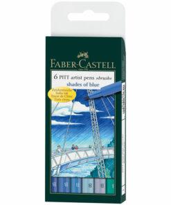 Набор капиллярных ручек Faber-Castell «Pitt Artist Pen Brush Blues» 6цв., 6шт., пластик. уп., европодвес