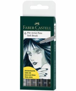 Набор капиллярных ручек Faber-Castell «Pitt Artist Pen Soft Brush» 6цв., 6шт., пласт.уп., европодвес