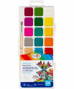 Акварель Гамма «Классическая», медовая, полусухая, 24 цветов, с кистью, пластик, европодвес