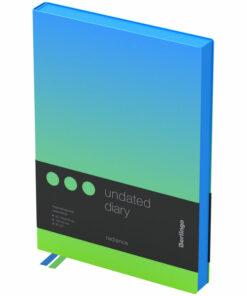Ежедневник недатир. A5, 136л., кожзам, Berlingo «Radiance», голубой/зеленый градиент