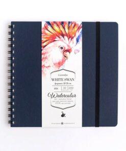 Скетчбук для акварели «White Swan» МАЛЕВИЧЪ, синий, Fin 200г/м2 21х21, 30л.