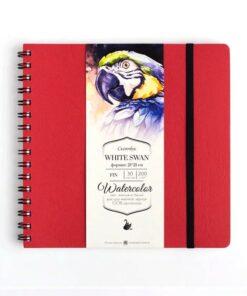 Скетчбук для акварели «White Swan» МАЛЕВИЧЪ, красный, Fin 200г/м2 21х21, 30л.