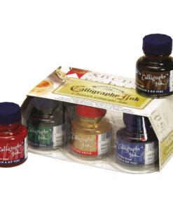 Набор туши художественной Winsor&Newton для каллиграфии, 6цв., 30мл (черный, алый, темно-синий, зеленый, сепия, золотой), стекл. флакон, в картонной к