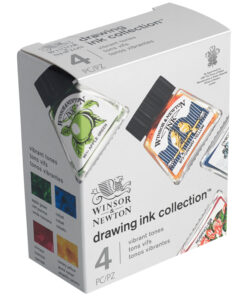 Набор туши художественной Winsor&Newton для рисования, 4цв. (кобальт, желтый солнечный, зеленое яблоко, кармин), 14мл, стекл. флакон, в картонной кор