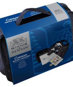 Акварель Winsor&Newton «Cotman Travel Bag» в сумке, 14 мал. кюв. + аксессуары (пенал для кистей, альбом для акварели А5, 300 гр/м2; раздвиж. палитра