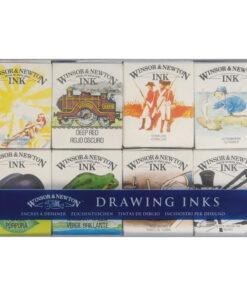 Набор туши художественной Winsor&Newton для рисования, коллекция Вилльям, 8цв., 14мл, стекл. флакон, картонная коробка