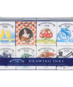 Набор туши художественной Winsor&Newton для рисования, коллекция Генри, 8цв., 14мл, стекл. флакон, в блистерной упаковке