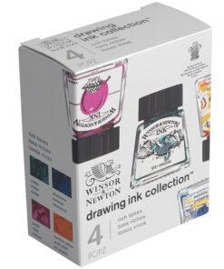 Набор туши художественной Winsor&Newton для рисования, 4цв. (ультрамарин, пурпурный, желтый канареечный, виридиан), 14мл, стекл. флакон, в картонной к