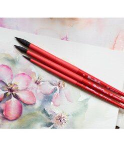 Кисть соболь-микс круглая №3 ROUBLOFF Aqua Red, короткая ручка, обойма soft-touch