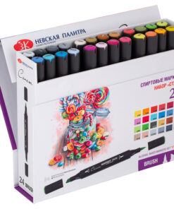Набор маркеров для творчества Сонет «Twin Brush. Старт», 24цв., спиртовые, скош./пулевидный