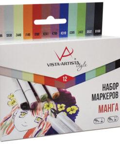 Набор маркеров для творчества Vista-Artista «Style» 12цв., пулевидный/скошенный, 0,7мм/1-7мм, Манга