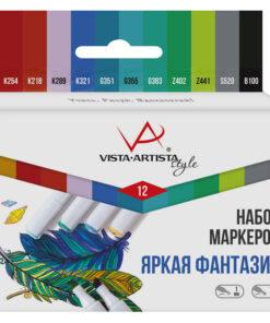 Набор маркеров для творчества Vista-Artista «Style» 12цв., пулевидный/скошенный, 0,7мм/1-7мм, Яркая фантазия