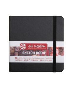 Скетчбук 80л. 120*120мм 7БЦ Royal Talens «Art Creation. Черный», 140г/м2, слон.кость, на резинке, ляссе